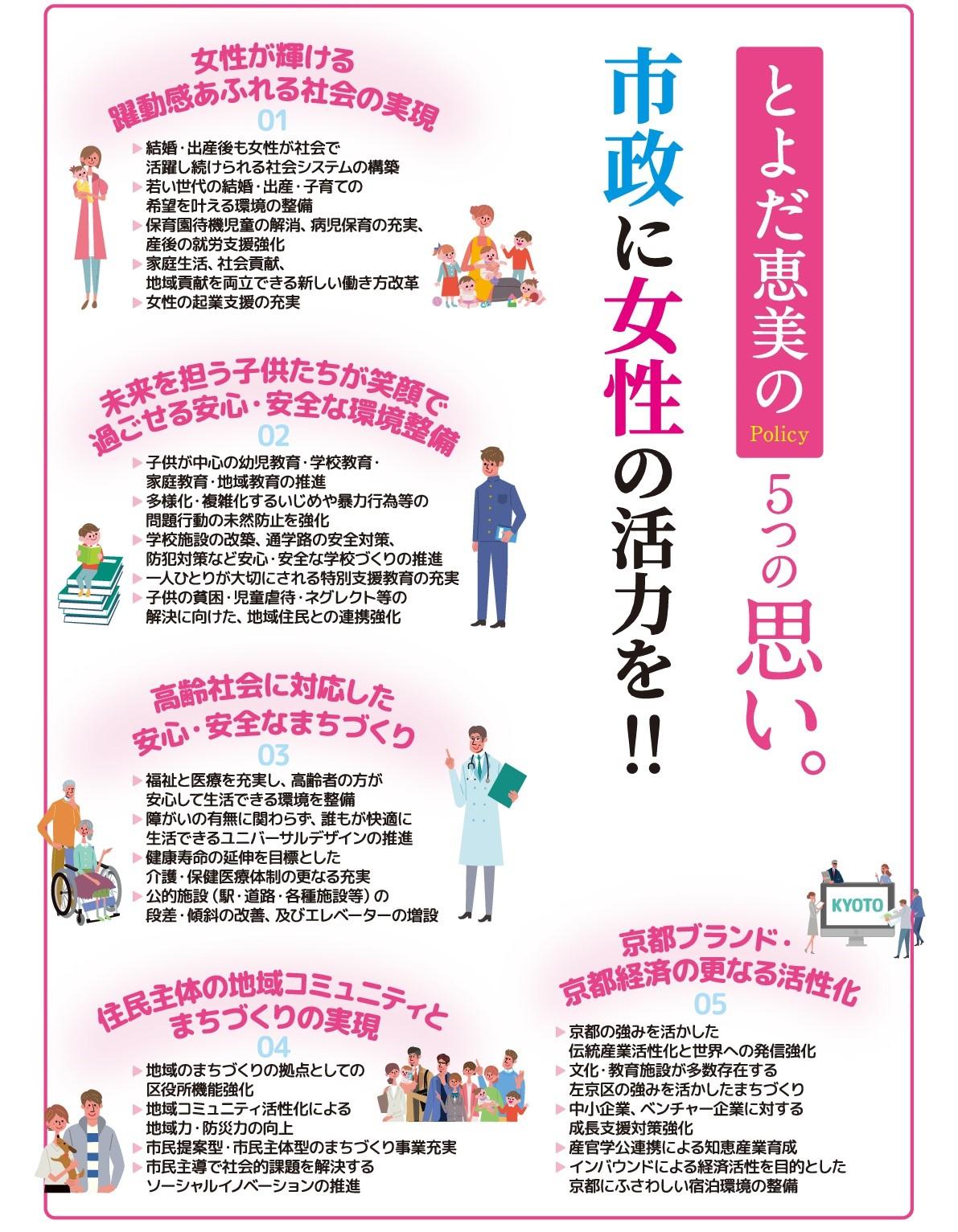 とよだ恵美の5つの思い。市政に女性の活力を!!